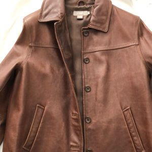 J crew brown leather jacket